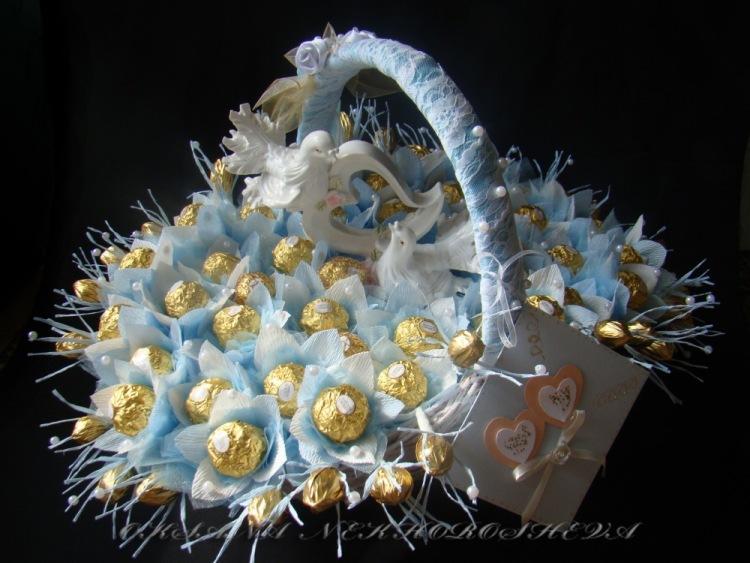 Букеты из конфет на свадьбу мастер класс