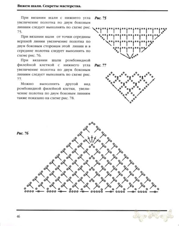 Вязание шалей от угла