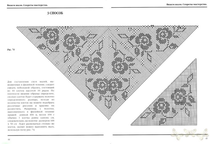 Филейное вязание косынки крючком 69