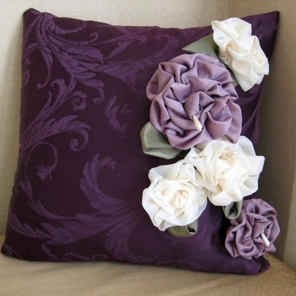 Цветы из ткани для подушек своими руками фото 66