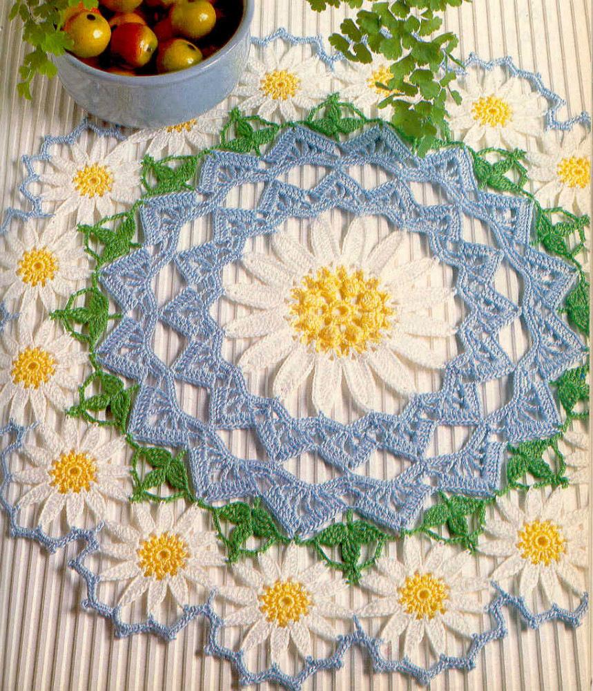 Вязание крючком салфетки и цветы