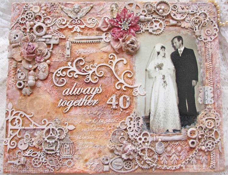 Открытка на рубиновую свадьбу скрапбукинг 52
