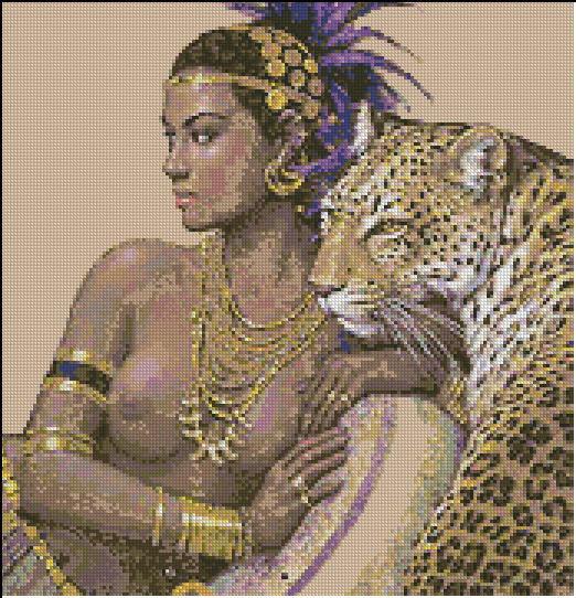 Алмазная вышивка клеопатра с леопардами