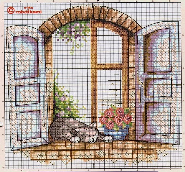 Схемы вышивки крестом вид из окна