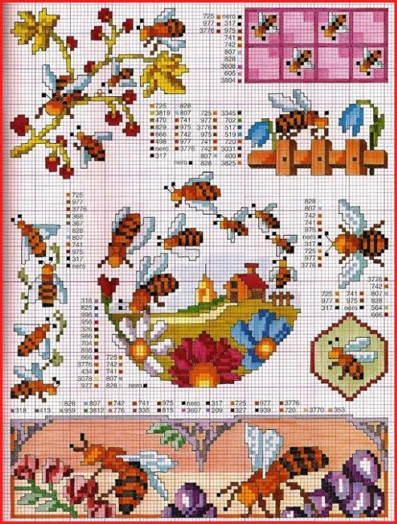 Схему вышивки крестом пчелка 141