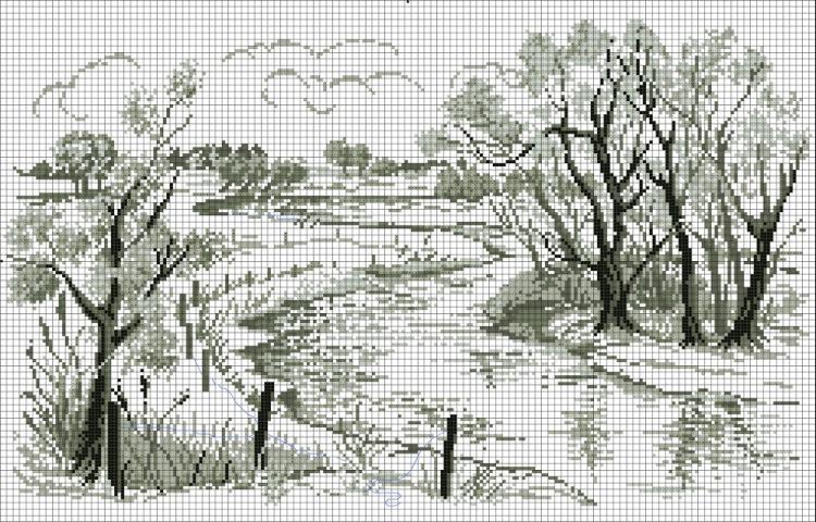 Монохромные схемы вышивки крестом пейзажи