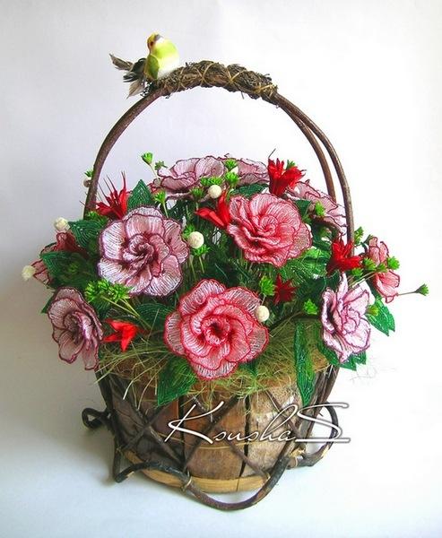 Корзина цветов из бисера с пошаговым