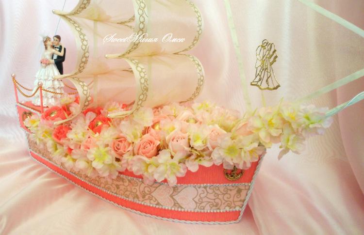 Корабль свадебный из конфет своими руками 83