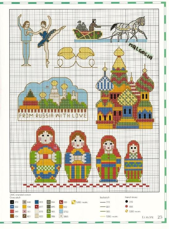 Схемы для вышивки крестом матрёшка 476