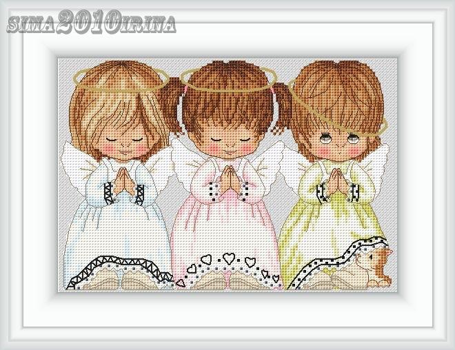 Схема вышивки трех ангелочков 33