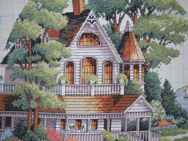схема вышивки крестом домик вмвекторианском стиле