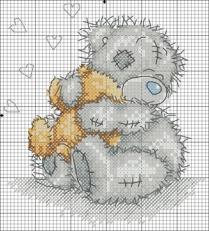 Схема вышивки крестом спящего мишки тедди